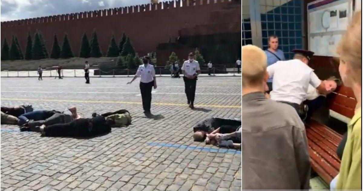 Фото Задержания в Москве: протестующие телами выложили цифру «2036»
