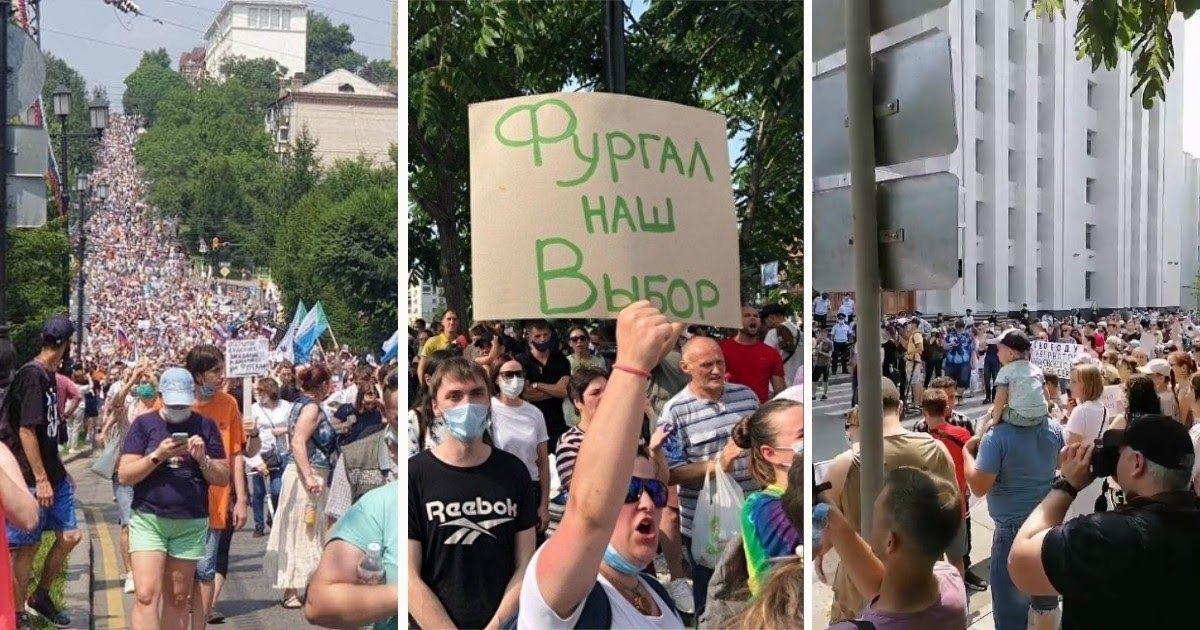 Фото Дальний Восток бурлит: многотысячная толпа прошла по Хабаровску