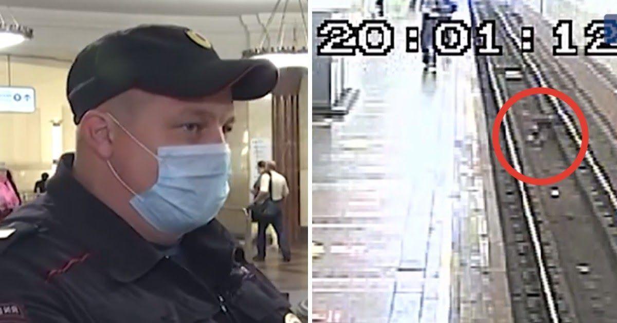 Фото За секунду до. Полицейский спас мужчину в метро перед самым поездом