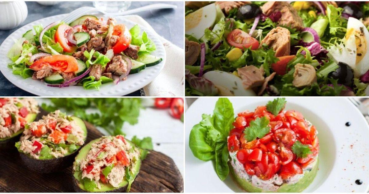 Фото Подборка разных салатов с тунцом