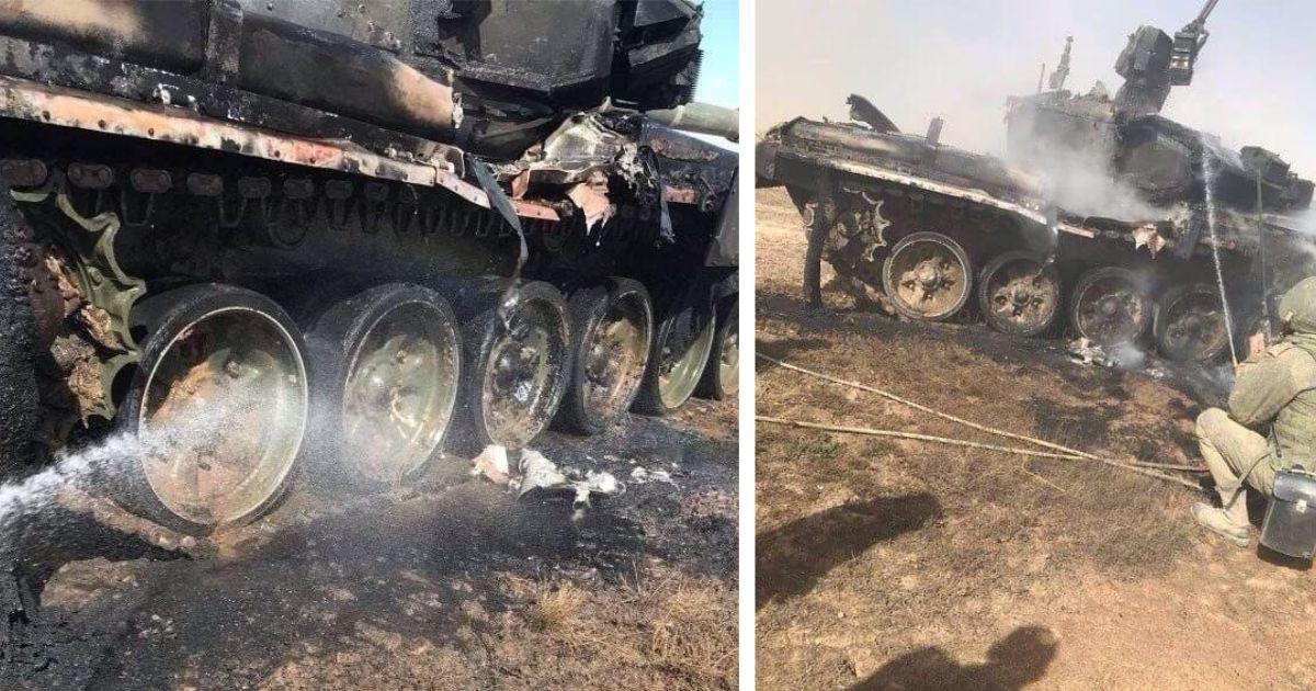 Фото Под Астраханью на учениях подбили российский танк
