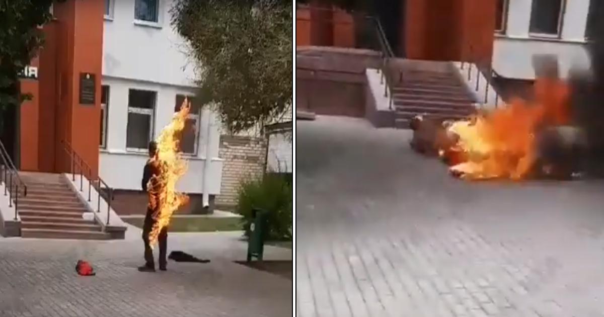 Фото В Белоруссии мужчина сжег себя в знак протеста