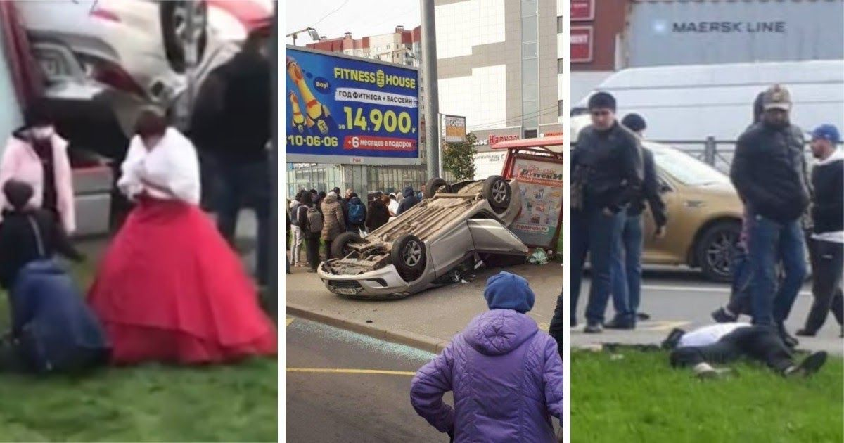 Фото Свадебное ДТП в Петербурге: машина с женихом и невестой влетела в остановку