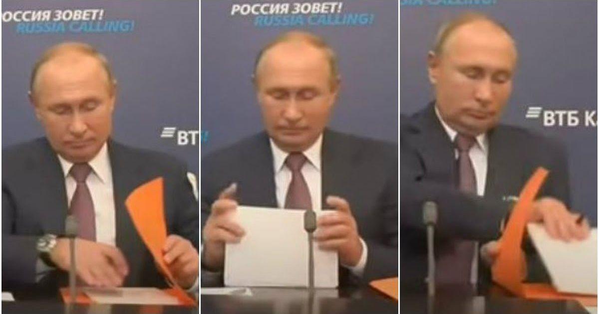 Фото Путин и папка: поведение президента на совещании вызвало недоумение в Сети