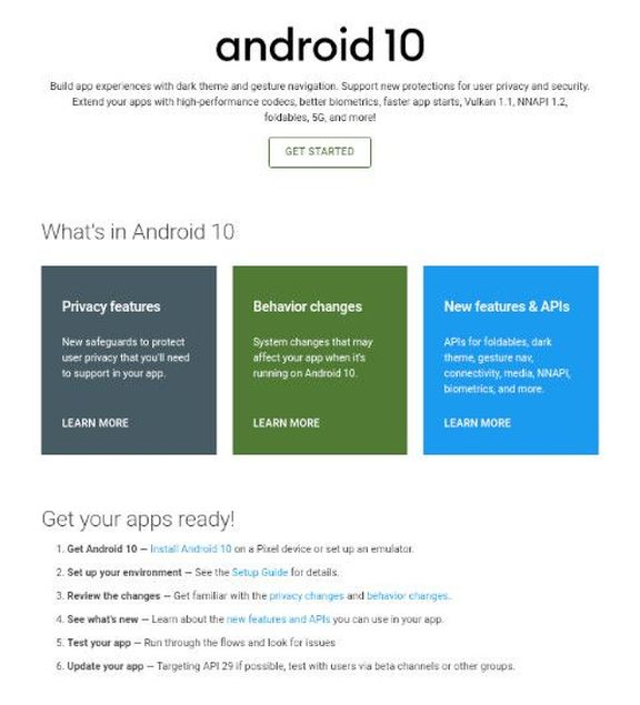 Android 10 Developer Page
